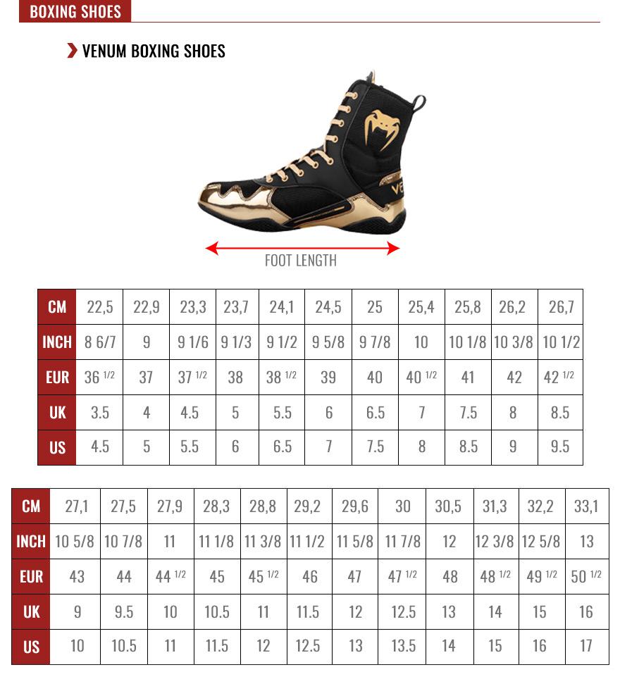 Venum Shoes Size Chart